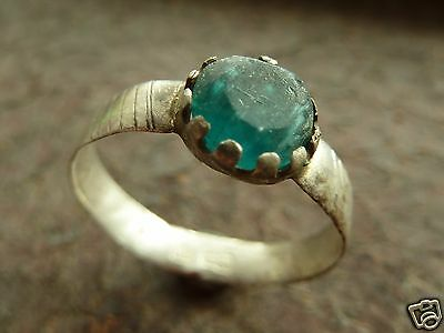 Post-Medieval silver ring with blue stone insert (239). • CAD $88.53
