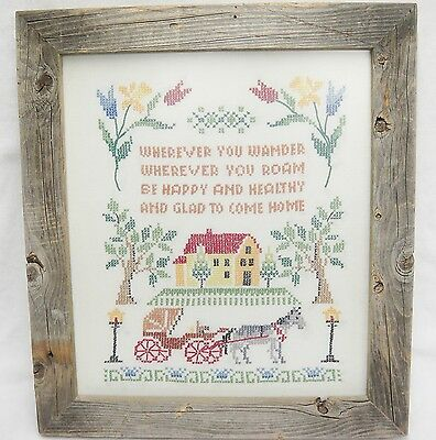 Wherever You Wander Be Glad to Come Home Cross Stitch Sampler in Barnwood Frame
