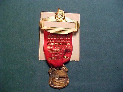 Vintage 1934 Geneva New York 62nd Annual  Firemen's Delegate Convention Badge
