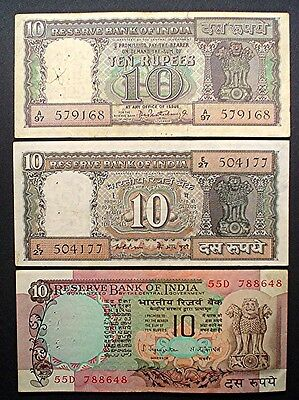 INDIA x 3  DIFFERENT ~ 10 RUPEES  1967/85/90 f.