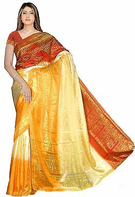 Fertig gewickelter Bollywood Sari Indien Tricolor Orange in 3 Größen