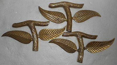 Vintage 3 Brass Door Handle Leaf Shap,Hand Made S2134