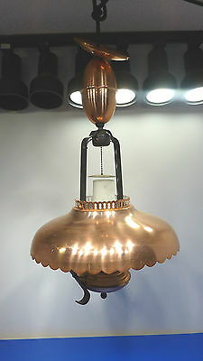 Vintage Pull Down Hanging Metal Light Fixture with Hurricane Glass Lamp,USED