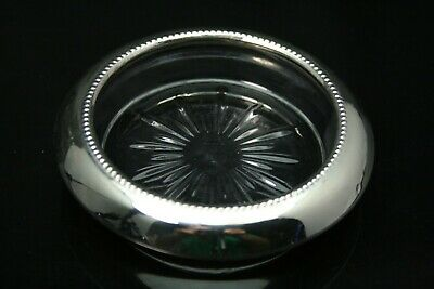 FRANK M WHITING & CO Sterling Silver & Glass Beverage Coaster Free Ship ANT1259