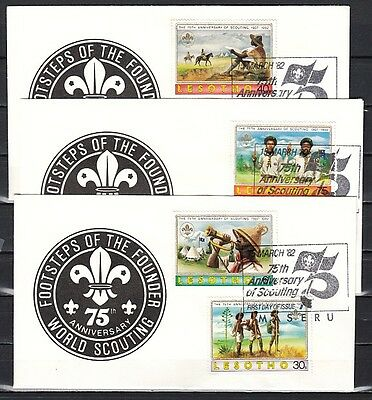 Lesotho, Scott cat. 357-361. Scouting Anniversary on 3 First day covers.