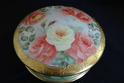 """Limoges France Hand Painted Dresser Box 8"""" -Signed Shirley King"""