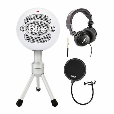 Blue Microphones Snowball Ice Microphone w/ Knox Pop Filter & Studio Headphones