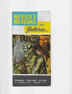 1963 Mexico Travel Brochure Pemex Travel Club Museums And Galleries