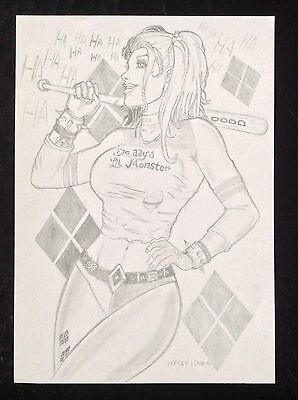 HARLEY QUINN Original Art - Suicide Squad Margot Sexy Erotic Pinup Fantasy Comic