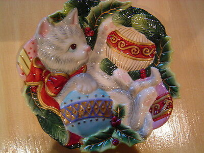 Fitz and Floyd Kristmas Kitty Ornaments Canape' Plate Christmas Flawless