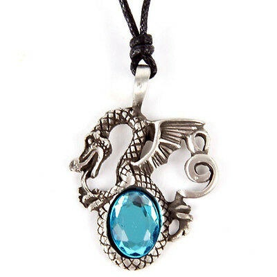 DRAGON PEWTER  NECKLACE with ACRYLIC BLUE STONE