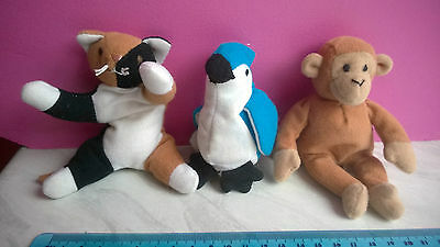 MINI TY BEANIE BABIES FROM McDs COLLECTION Cat / Parrot & Monkey VGC