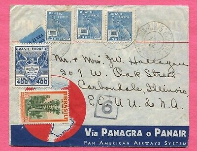 1933 Brazil Multi Franked Airmail Cover Panagra Panair To Usa