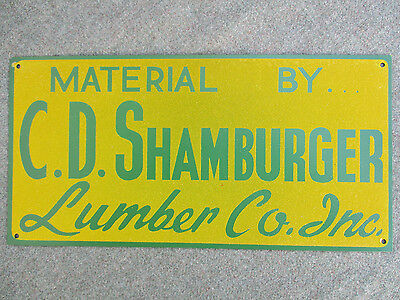 Old Vintage C.d. Shamburger Lumber Co Hardware Tin Sign N.mint