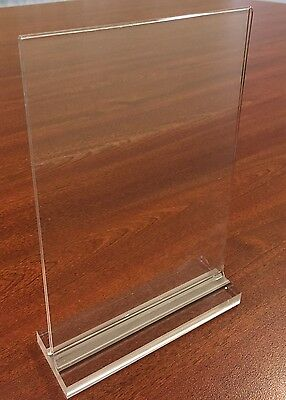 3 x A4 Clear Block Acrylic Sign / Menu Holder Counter shops retail cafe