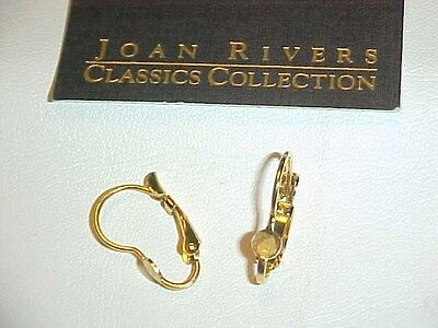 Vintage Joan Rivers Stamped Gold Unset Round Pad Lever Back Earrings  J26