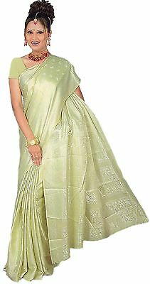PRONTO gewickelter Bollywood Sari India Verde Lime in 3 TAGLIE