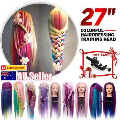 "27"" Colorful Hair Salon Mannequin Practice Training Head Hairdressing With Clamp"