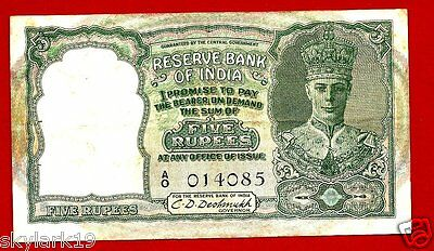 INDIA 5 RUPEES P23a AVF (1953) KING GEORGE VI,SERIAL A/O 011085 VERY SCARCE NOTE