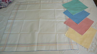 Vintage Tablecloth Set PALE GREEN,YELLOW,BLUE,ORANGE,PINK EMBROIDERED BORDER