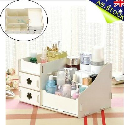 DIY Wooden Makeup Cosmetic Jewellery Case Storage Organizer Box Drawer White NEW