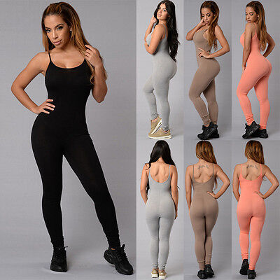 Bodycon Romper Jumpsuit Women Casual Sleeveless Club Bodysuit Long Pants New