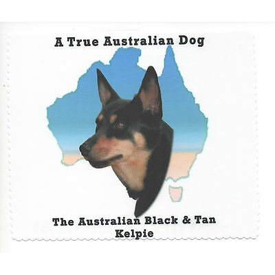 Australian Kelpie Black Tan Map Glasses cleaning cloth Sunglasses Single sided