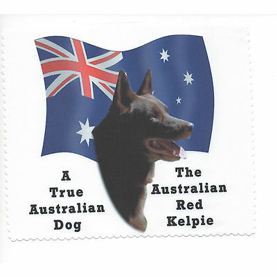 Australian Kelpie Red Flag Glasses cleaning cloth Sunglasses Single sided