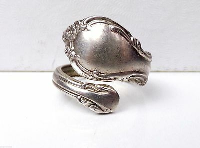 Old Alvin Sterling Silver Art Nouveau Pirouette bypass band Wrap Spoon Ring