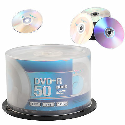 50 Pack DVD+R 120 Mins 4.7GB 16x Speed Full Face Recordable Blank CDS DVDS Discs