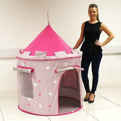 Childrens Kid Pink Castle Pop Up Play Tent Play House Indoor Outdoor Garden Girl