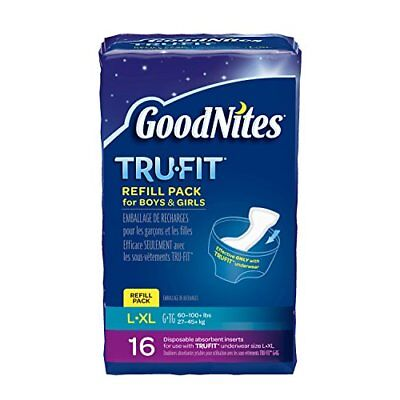 Goodnites Tru-Fit Refill Pack Disposable Absorbent Inserts For Boys & Girls L/Lx