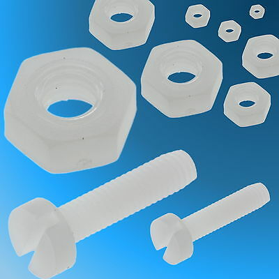 M2 M2.5 M3 Cheese Head Nylon Plastic Sloted Bolts Screws Nuts Washers RC Models