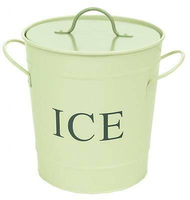 Retro Vintage Cream Enamel Ice Drinks Drink Cool Bucket Bin With Handles & Lid