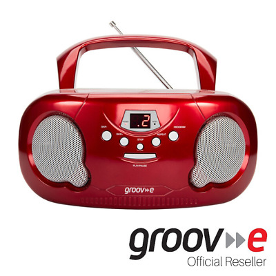 New Groov-E Boombox Portable Cd Player With Radio And Headphone Jack - Red