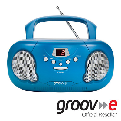 New Groov-E Boombox Portable Cd Player With Radio And Headphone Jack - Blue