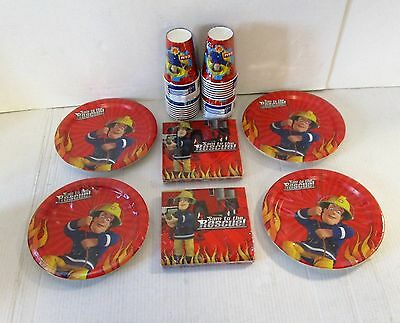Fireman Sam Tableware Party Pack for 32 Guests - Plates Cups Napkins