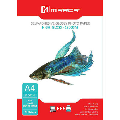 20 Sheets NEW Mirror A4 Self Adhesive Glossy Photo Inkjet Paper HQ 130gsm