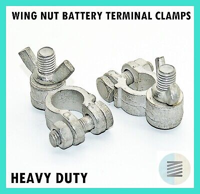 Battery Terminal Clamps Wing Nut Positive & Negative - HEAVY DUTY