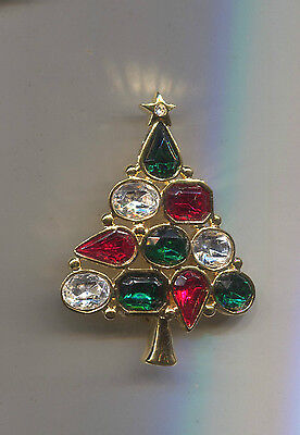 Lia Green Clear Red Christmas Tree Pin