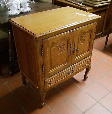 Louis Xv Style Vintage French Carved Oak 2 Door/1 Drawer Side Cabinet  (030049)