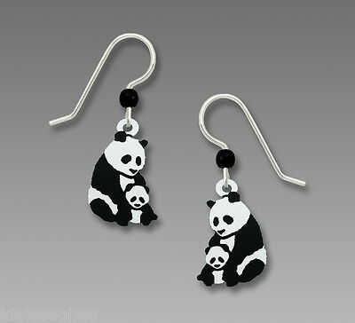 Sienna Sky Mother And Baby Panda Bear Earrings Sterling Silver Dangle Gift Box