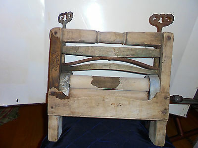 Steel Ball Gearing Hand Crank Wringer Pat June 21 1838 Original  Wood Vintage