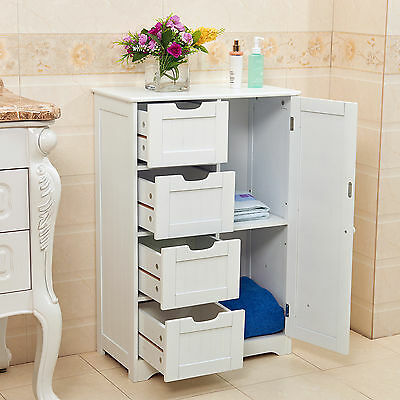 White Wooden 4 Drawer Bathroom Storage Cupboard Cabinet Free Standing Unit Bath