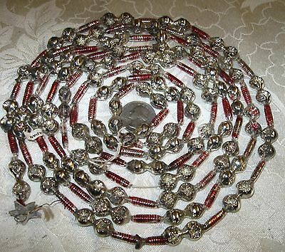 Vintage Mercury Glass Garland Indent Double Beads Ribbed Tubes Christmas Tree