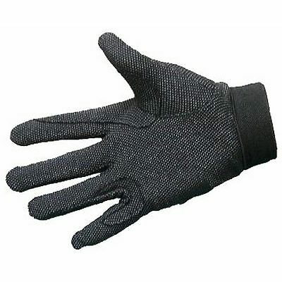 X-SMALL BLACK BREATHABLE COTTON KNIT REINFORCED RIDING GLOVES With PEBBLED PALMS