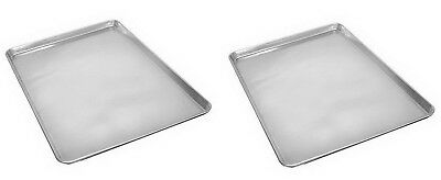 """Two Commercial Grade 18"""" x 13"""" Half Size Aluminum Sheet Baking Pan Bread Cookie"""