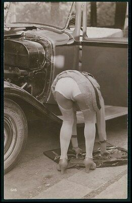 French nude Biederer ? Miss Michelin tyres automobile old c1925 photo postcard