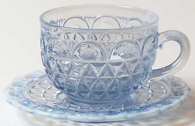 Imperial Glass Ohio LACED EDGE BLUE OPALESCENT (KATY) Cup & Saucer 3765362