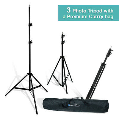 3x 7FT/213CM Tripod Light Stands w/Bag For Studio Kits,Lights,Softboxes